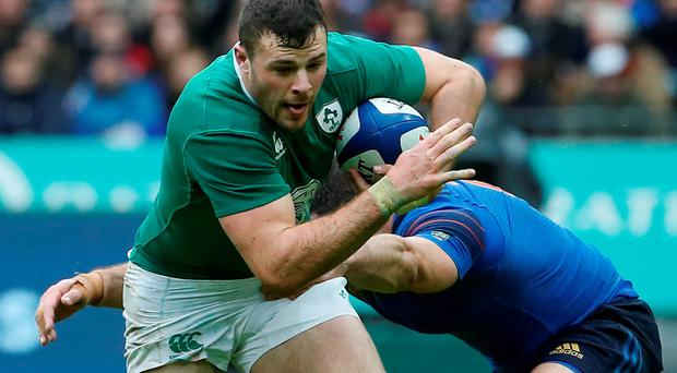 Robbie Henshaw in action for Ireland during their defeat against France. Photo: Getty
