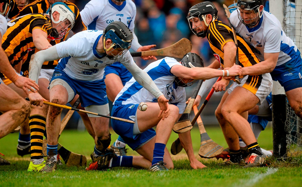 Waterford's Austin Gleeson gathers possession in a goalmouth scramble at Walsh Park yesterday Photo: Sportsfile