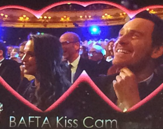Alicia Vikander and Michael Fassbender during the Kiss Cam segment at the BAFTAs. Picture: Debbie O'Donnell/Twitter