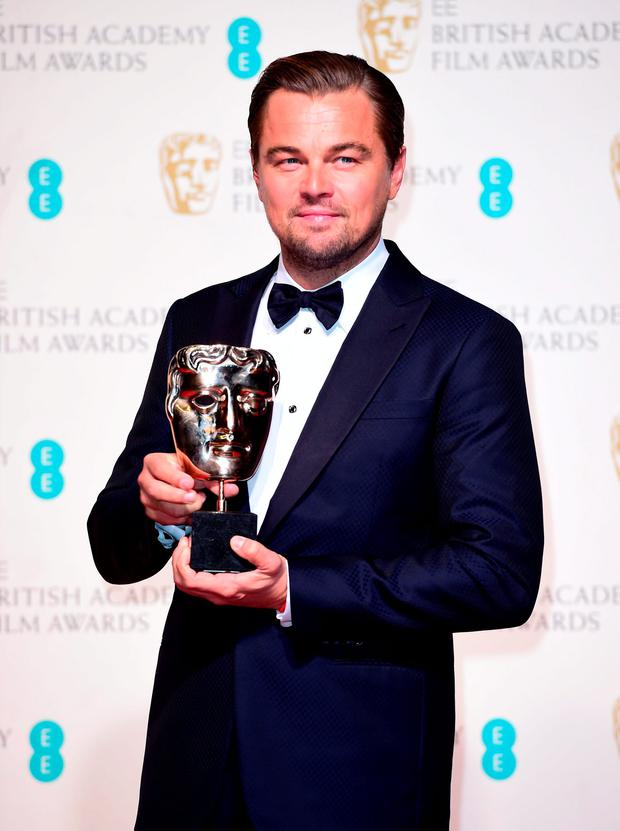 Leonardo DiCaprio with the Best Actor BAFTA (The Revenant) in the press room at the EE British Academy Film Awards at the Royal Opera House, Bow Street, London