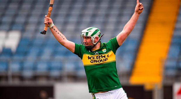 Mikey Boyle, Kerry, celebrates after scoring his side's 1st goal Photo: Sportsfile
