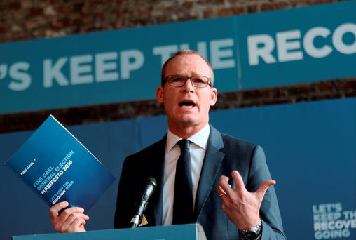Minister for Agriculture, Food, the Marine and Defence, Simon Coveny, speaking at the launch of Fine Gael's General Election Manifesto. Photo: Caroline Quinn