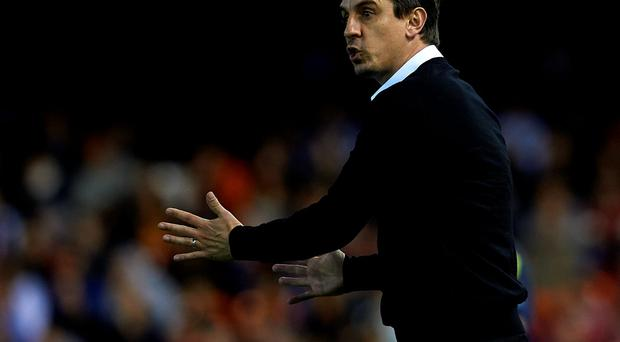 Gary Neville gestures during Valencia's victory over Espanyol Photo: Getty