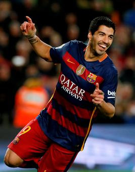Barcelona's Luis Suarez celebrates a goal against Celta Vigo Photo: Reuters