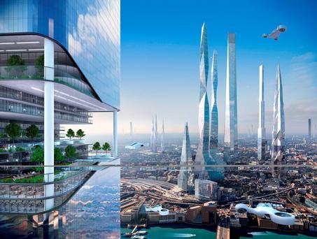 An artist's impression issued by Samsung of the future London skyline which features in the SmartThings Future Living Report. Photo: Samsung/PA Wire