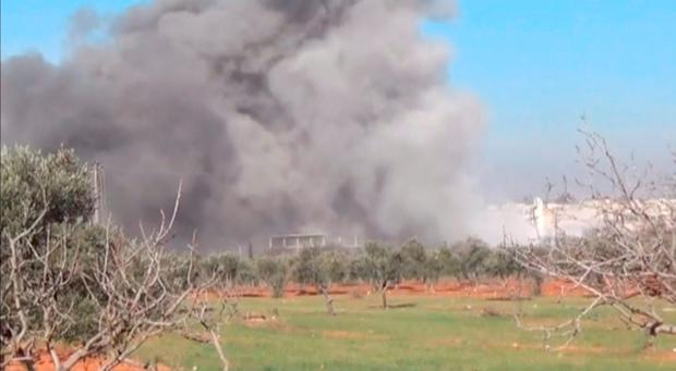 Heavy smoke rises from a location said to be a Medecins Sans Frontieres (MSF) supported hospital in Marat al Numan, Idlib, Syria. Reuters/Social Media Website via Reuters