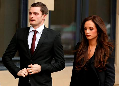 Former Sunderland soccer player Adam Johnson arrives with his girlfriend Stacey Flounders at Bradford Crown Court in Bradford, northern England February 12, 2016