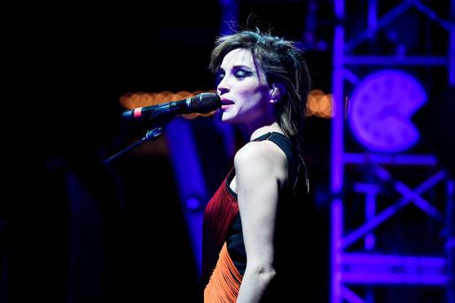 INDIO, CA - APRIL 12: Singer-songwriter St. Vincent performs onstage during day 3 of the 2015 Coachella Valley Music & Arts Festival (Weekend 1) at the Empire Polo Club on April 12, 2015 in Indio, California. (Photo by Frazer Harrison/Getty Images for Coachella)