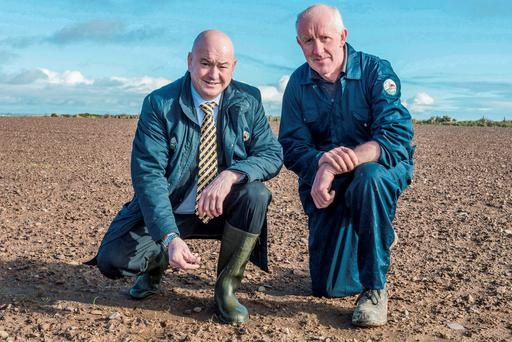 Cllr Kevin O'Keeffe, the Fianna Fail election candidate in Cork East constituency is pictured with tillage farmer Martin Crowley, Kilderrig, Cloyne in a field which was sown with winter barley in October. Salt drift from sea mist carried by numerous winter storms destroyed the well established crop. Photo: O'Gorman Photography.