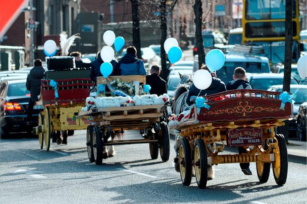 Funeral cortege for David Byrne driving up New Street South towards Clanbrassil street on its way to Mount Jerome Cemetery