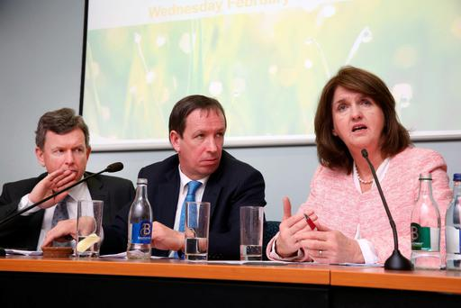 Labour leader Joan Burton flanked by IFA Acting General Secretary Bryan Barry and IFA National Chairman Jer Bergin during her visit to Bluebell last week. Photo: Finbarr O'Rourke.