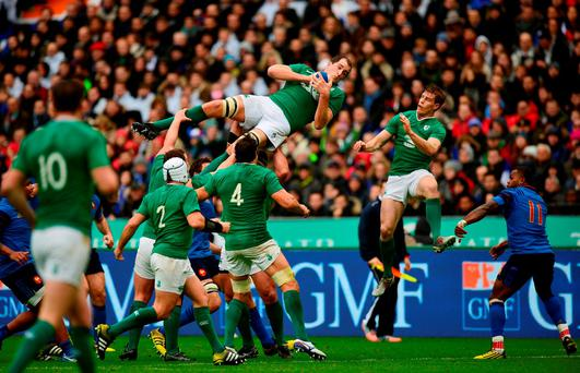 Devin Toner of Ireland claims a restart during the RBS Six Nations match between France and Ireland at the Stade de France on Saturday
