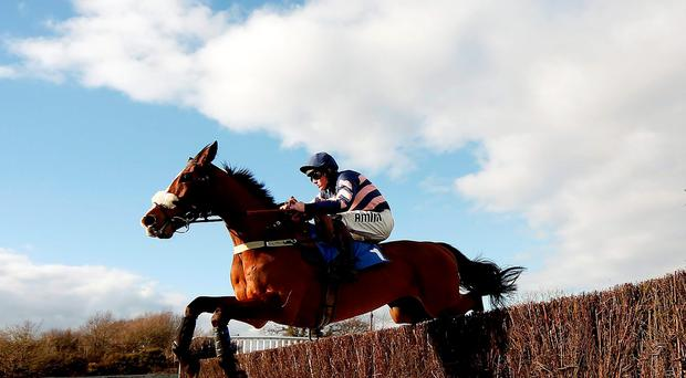 Josh Moore and Ar Mad on their way to winning at Plumpton. Photo: Getty
