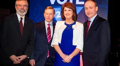 From left: Gerry Adams, Sinn Féin; Taoiseach Enda Kenny, Fine Gael; Tánaiste Joan Burton, Labour; and Micheál Martin, Fianna Fáil at TV3's Vote 2016 Leaders' Debate in Dublin last week. Photo: Arthur Carron
