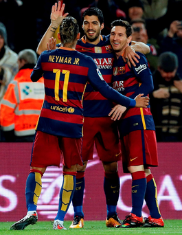 Lionel Messi, Neymar and Luis Suarez may well be the best attacking trio there has ever been. Photo: Albert Gea/Reuters
