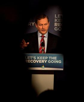 Taoiseach Enda Kenny setting out details of FG plans to invest in services. Photo: Mark Condren