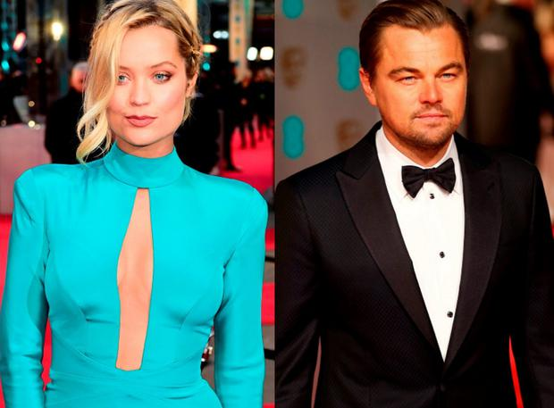 Laura Whitmore (left) and Leonardo DiCaprio (right) at the 2016 BAFTAs
