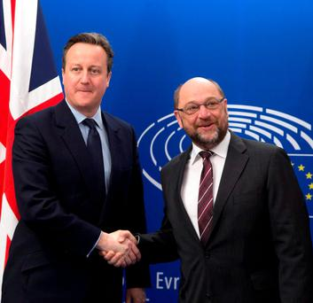 British Prime Minister David Cameron, left, poses with European Parliament President Martin Schultz at the European Parliament in Brussels on Tuesday (AP Photo/Virginia Mayo)