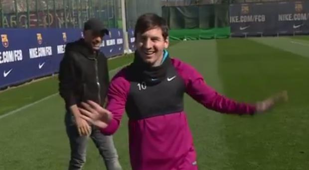 Lionel Messi looked very pleased with his effort