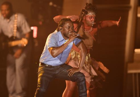 Kendrick Lamar performs on stage during the 58th Annual Grammy Awards in Los Angeles, California. (Photo: ROBYN BECK/AFP/Getty Images)