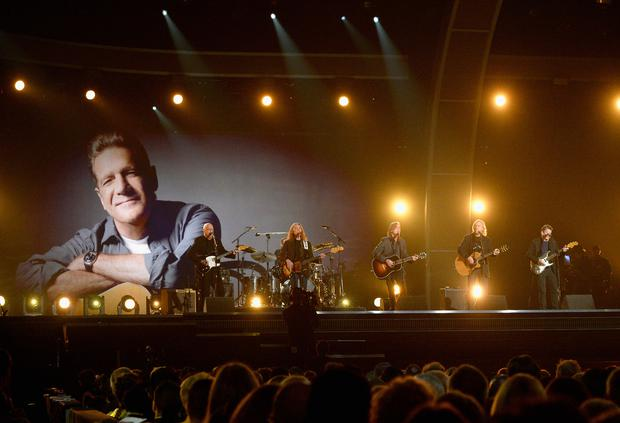 Musicians Bernie Leadon, Timothy B. Schmit, Jackson Browne and Steuart Smith, honoring Eagles founder Glenn Frey, perform onstage during The 58th GRAMMY Awards at Staples Center on February 15, 2016 in Los Angeles, California. (Photo by Kevork Djansezian/Getty Images for NARAS)