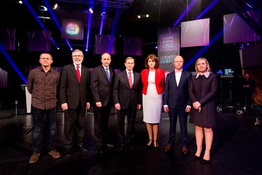 The Leaders on stage from left: Richard Boyd Barrett, People Before Profit Alliance, Gerry Adams, Sinn Fein, Micheal Martin, Fianna Fail, Taoiseach Enda Kenny, Fine Gael, Joan Burton, Tanaiste Joan Burton, Stephen Donnelly, Social Democrats and Lucinda Creighton, Renua at the RTÉ Claire Byrne Live Leaders Debate.