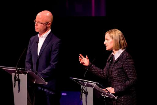 Debate: Stephen Donnelly (left) was 'head and shoulders' above the other party leaders – including Lucinda Creighton. Picture: Oisin McHugh FusionShooters.