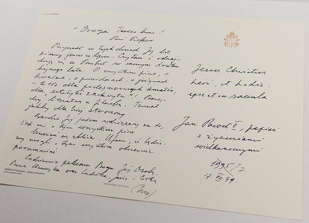 One of hundreds of letters that Pope John Paul II sent to a Polish-American philosopher during the 32 years of joint work and friendship between the two. AP Photo/Czarek Sokolowski