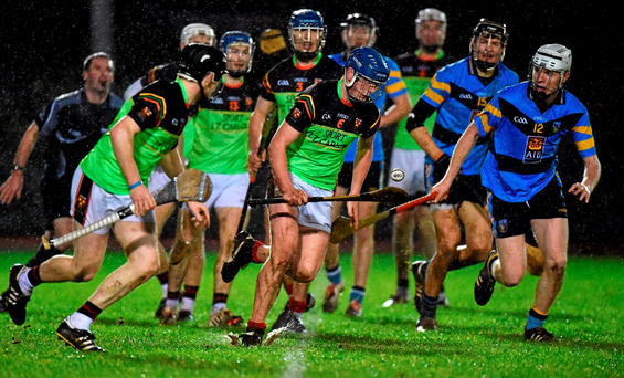 Michael Harney, Institute of Technology Carlow, breaks clear with the sliothar.. Photo: Matt Browne / Sportsfile.