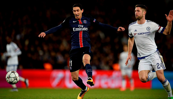 Gary Cahill pursues Angel Di Maria AFP PHOTO / FRANCK FIFEFRANCK FIFE/AFP/Getty Images