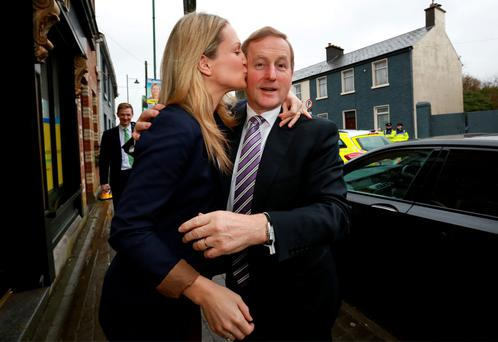 Fine Gael TD and Meath East candidate Helen McEntee welcomes Taoiseach Enda Kenny to her constituency offices in Kells. Photo: Frank McGrath