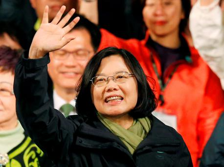 Taiwan's president-elect Tsai Ing-wen waves as she declares victory in the presidential election in Taipei, Taiwan (AP Photo/Wally Santana, File)