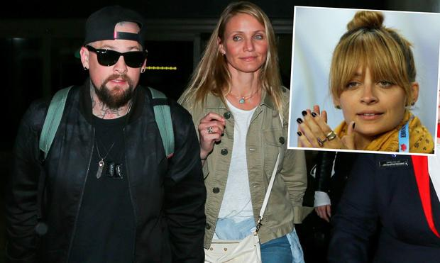 Cameron Diaz and husband Benji Madden and (inset) is Nicole Richie