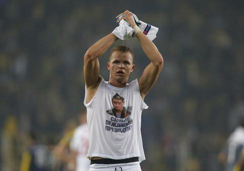 Lokomotiv Moscow's Dmitri Tarasov after a match against Fenerbahce AP