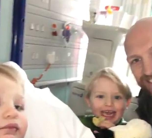 Pictures tweeted by Matt Dawson of his son Sami suffering from meningitis