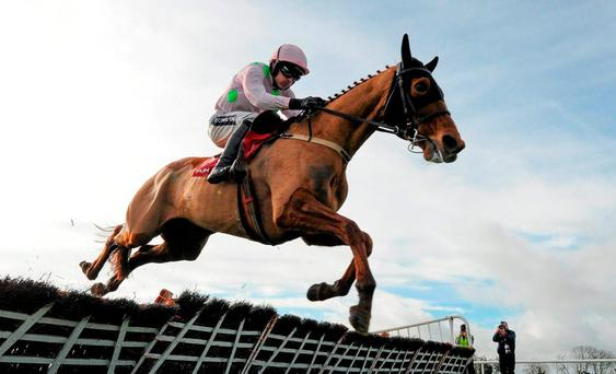Annie Power, with Ruby Walsh up, jumps the last on their way to winning the punchestown.com Mares Hurdle. Punchestown, Co. Kildare. Picture credit: Seb Daly / SPORTSFILE