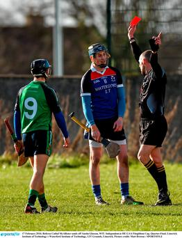 Referee Cathal McAllister sends off Austin Gleeson, WIT. Independent.ie HE GAA Fitzgibbon Cup, Quarter-Final, Limerick Institute of Technology v Waterford Institute of Technology, LIT Grounds, Limerick. Picture credit: Matt Browne / SPORTSFILE