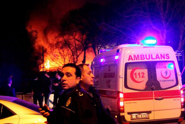An ambulance arrives to the site of an explosion in Ankara, Turkey February 17, 2016. REUTERS/Tumay Berkin FOR EDITORIAL USE ONLY. NO RESALES. NO ARCHIVE.