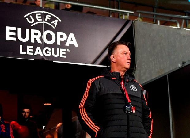 Louis van Gaal, Manager of Manchester United makes his way out of the tunnel during a training session ahead of the UEFA Europa League Round of 32 match between FC Midtjylland and Manchester United at Herning MCH Multi Arena