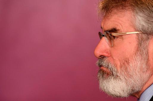 Sinn Féin leader Gerry Adams listens to a question during an interview in Kilkenny. Photo: Reuters