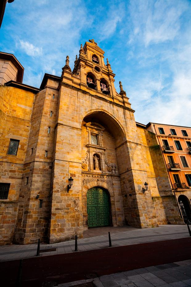Full view of saint Vicente church in the city of Bilbao Basque Country Spain