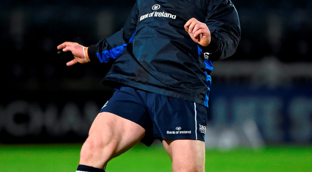 Cian Healy warms up before last week's Leinster win over Zebre (SPORTSFILE)