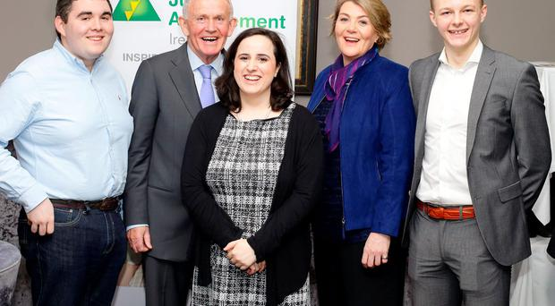 Alumni Ciaran Nolan, Tasneem Filaih and Aaron Ashe with current patron Leslie Buckley and Helen Raftery, CEO of Junior Achievement Ireland: Marc O'Sullivan