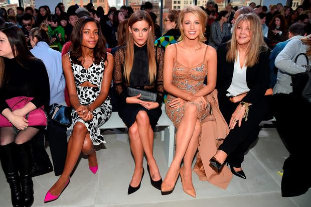 (L-R) Naomie Harris, Riley Keough, Blake Lively, and Elaine Lively attend the Michael Kors Fall 2016 Runway Show during New York Fashion Week: The Shows at Spring Studios on February 17, 2016 in New York City. (Photo by Nicholas Hunt/Getty Images For Michael Kors)