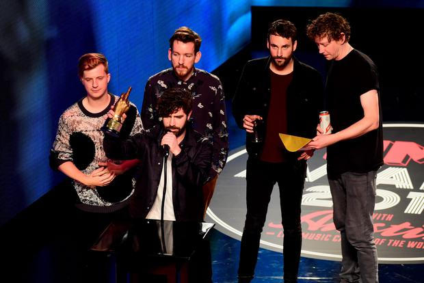 Foals collect the Best Album Award on stage during the NME Awards 2016 with Austin, Texas, at the O2 Brixton Academy, London. Photo: Ian West /PA