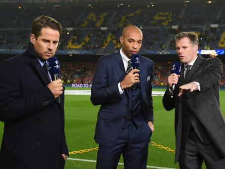 Sky Sports pair Jamie Redknapp and Jamie Carragher flank Thierry Henry. Getty Images
