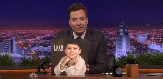 Jimmy Fallon holds the sleeve for Zayn Malik's new album Mind of Mine. Photo: The Tonight Show Starring Jimmy Fallon / NBC.