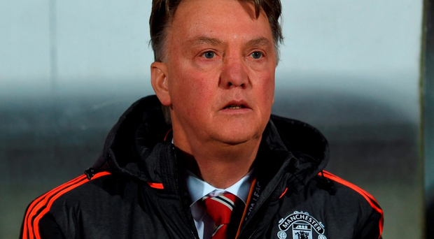 Louis van Gaal Manager of Manchester United looks on prior to the UEFA Europa League round of 32 first leg match atnFC Midtjylland (Photo by Michael Regan/Getty Images)