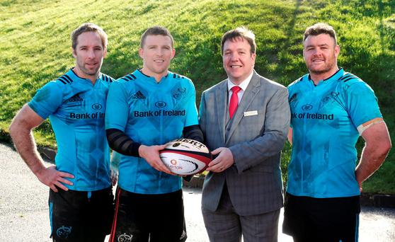 Tomas O'Leary, Andrew Conway and David Kilcoyne are pictured with general manager of Clayton Hotel Silver Springs Michael Lally at the announcement of a three-year partnership between Clayton Hotels and Munster Rugby that sees Clayton Hotels become sponsor of Munster Schools Senior and Junior Cups