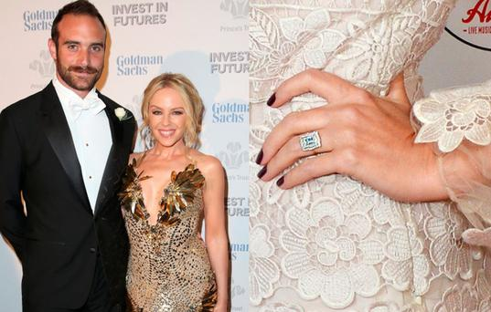 Kylie Minogue and Joshua Sasse (inset) is her rumoured engagement ring